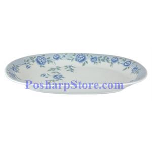 Picture of Cheng's White Jade Porcelain 12-Inch Blue Peony Retangle Plate
