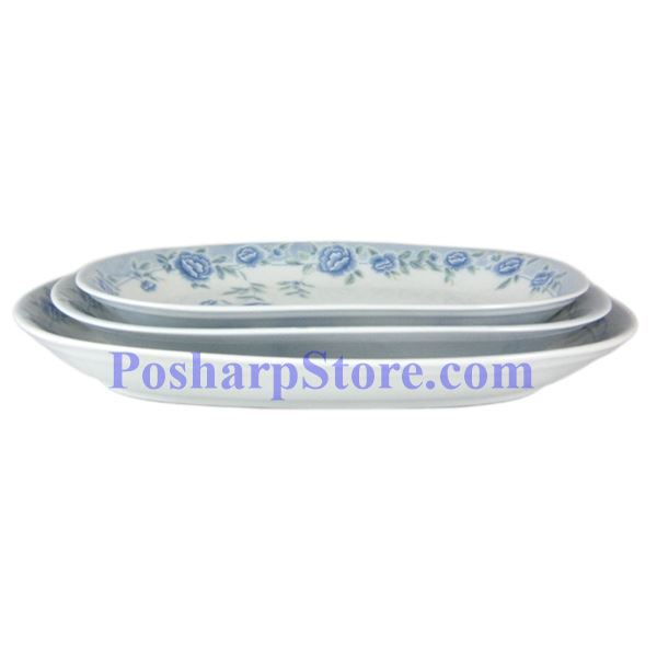 分类图片 Cheng氏白色陶瓷蓝牡丹12吋四方形汤盘
