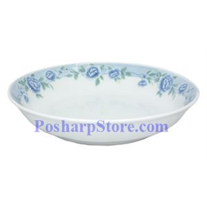 Picture of Cheng's White Jade Porcelain 9-Inch Blue Peony Soup Plate