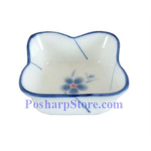 Picture of Cheng's White Jade Porcelain Blue Plum Blossom Saucer with Lotus Edge