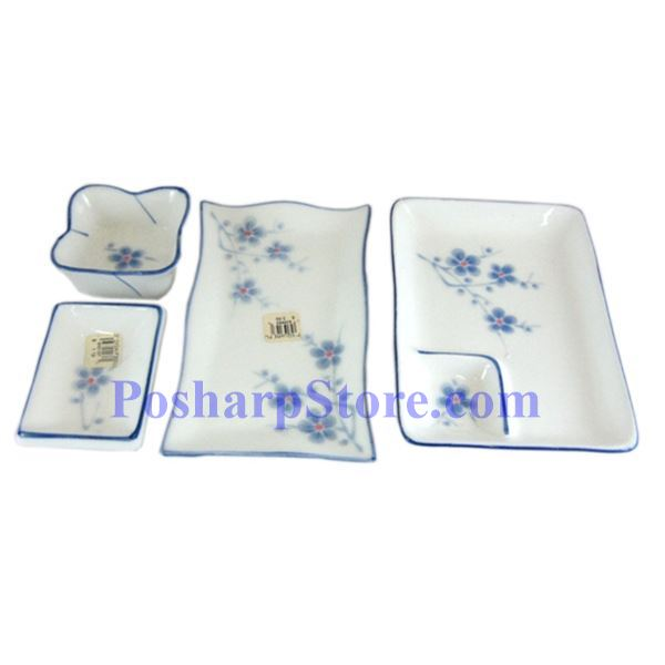 Picture for category Cheng's White Jade Porcelain Blue Plum Blossom Saucer with Lotus Edge