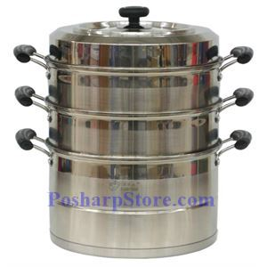 Picture of Laotesi 12-Inch Three Tier Stainless Steel American Style Stock Pot