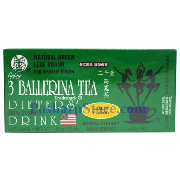 Picture for category 3 Ballerina Tea Dieter's Drink Extra Strength Lemon Flavor 18 Teabags