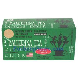 Picture of 3 Ballerina Tea Dieter Drink Extra Strength Cinnamon Flavor 18 Teabags