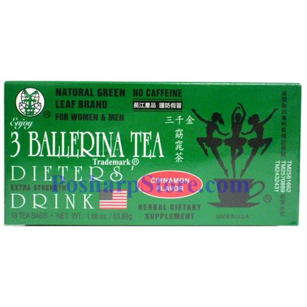 Picture for category 3 Ballerina Tea Dieter Drink Extra Strength Cinnamon Flavor 18 Teabags