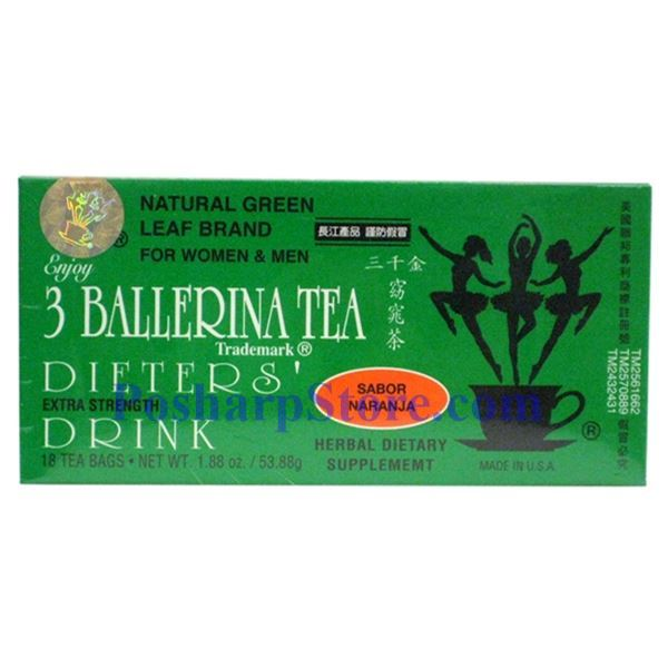 Picture for category 3 Ballerina Tea Dieter's Drink Extra Strength Orange Flavor 18 Teabags