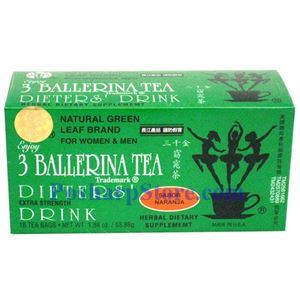 Picture of 3 Ballerina Tea Dieter's Drink Extra Strength Orange Flavor 18 Teabags