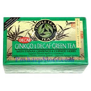 Picture of Triple Leaf  Decaf  Green Ginkgo & Ginseng  Herbal Tea With 20 Teabags