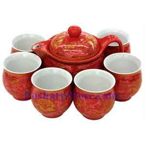 Picture of Ceramic Vermilion Chrysanthemum Teapot Set