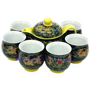 图片 陶瓷双龙戏珠茶壶茶杯套装