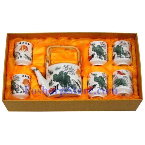 分类图片 金鱼荷花陶瓷茶壶茶杯套装