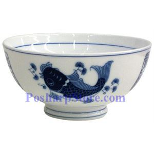Picture of Porcelain 4.5-Inch Blue Fish Rice Bowl