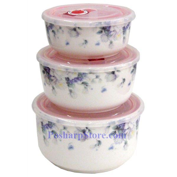 分类图片 白色陶瓷5英寸紫百花保鲜碗