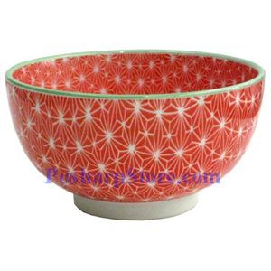 Picture of  Japanese 6-Inch Red Diamond Porcelain Rice Bowl