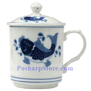 图片 白色陶瓷3.4英寸蓝鲤鱼盖杯