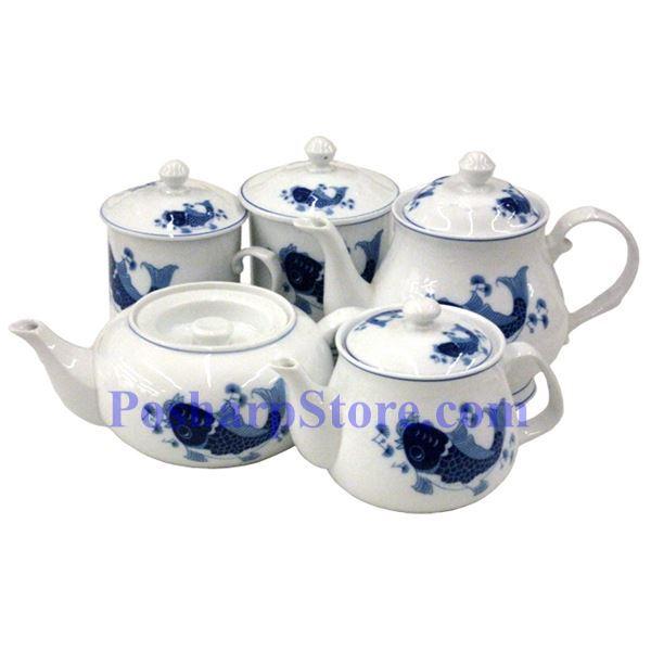 分类图片 白色陶瓷3.4英寸蓝鲤鱼盖杯