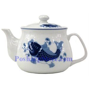 Picture of Porcelain 3-Inch Blue Fish Teapot