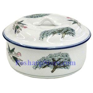 Picture of Porcelain 6 Inch Crane & Pine Tree Jar with Lid