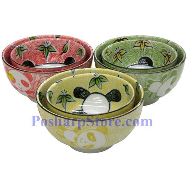 分类图片 日本5英寸熊猫陶瓷直口碗(红色)