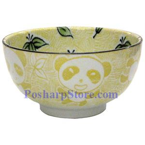 Picture of Japanese 6-Inch Yellow Panda Porcelain Rice Bowl