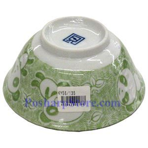 Picture of Japanese 5-Inch Green Panda Porcelain Flaring Rice Bowl