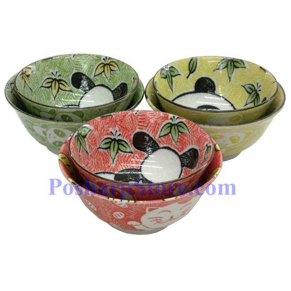 分类图片 日本5英寸熊猫陶瓷反口碗(绿色)