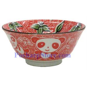 Picture of Japanese 5-Inch Red Panda Porcelain Flaring Rice Bowl