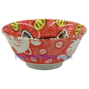 Picture of Japanese 6-Inch Red Cat Porcelain Flaring Rice Bowl