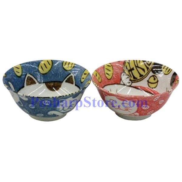 分类图片 日本6英寸倩猫陶瓷反口碗(红色)