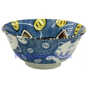 Picture of Japanese 6-Inch Blue Cat Porcelain Flaring Rice Bowl