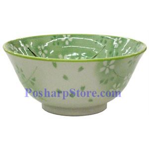 Picture of Japanese 6-Inch Green Plum Blossom Porcelain Rice Bowl