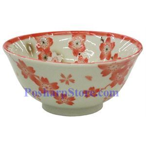 Picture of Japanese 6-Inch Red Plum Blossom Porcelain Rice Bowl