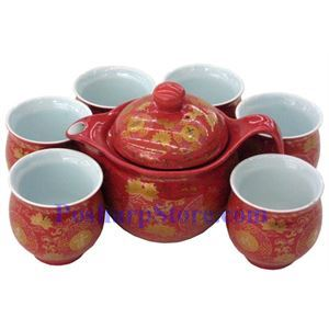 Picture of Ceramic Vermilion Lucky Teapot Set