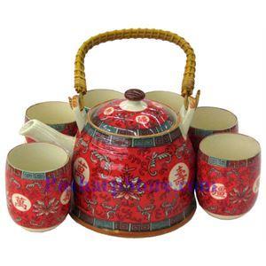 Picture of Ceramic Vermilion Longlive Teapot Set