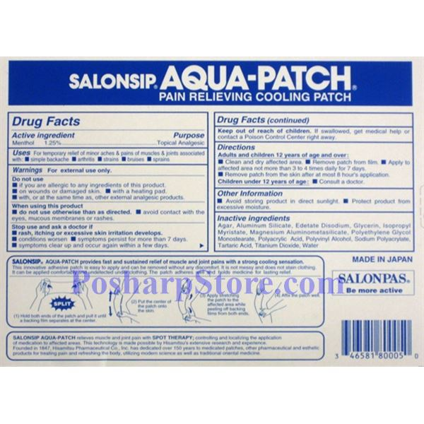 Picture for category Hisamitsu Salonsip Aqua-Patch Pain Relieving Cooling Patch 5 Patches