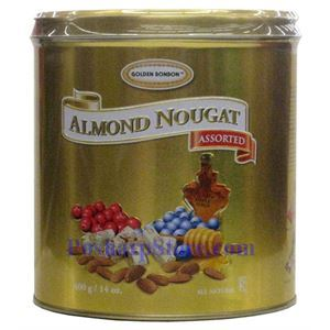 Picture of Golden Bonbon Tin Assorted Almond Nougat Candy 14 oz
