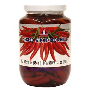 Picture of C.T.F. Brand Pickled Whole Red Chili Peppers 1 Lb
