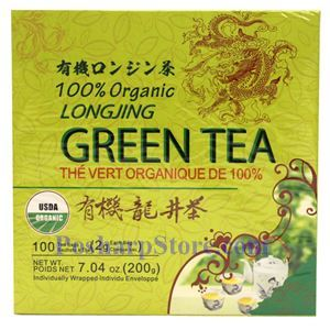 Picture of Best Taste 100% Organic Longjing Green Tea 100 Teabags