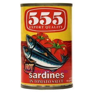 Picture of 555 Brand Sardines in Hot Tomato Sauce 5.5 Oz