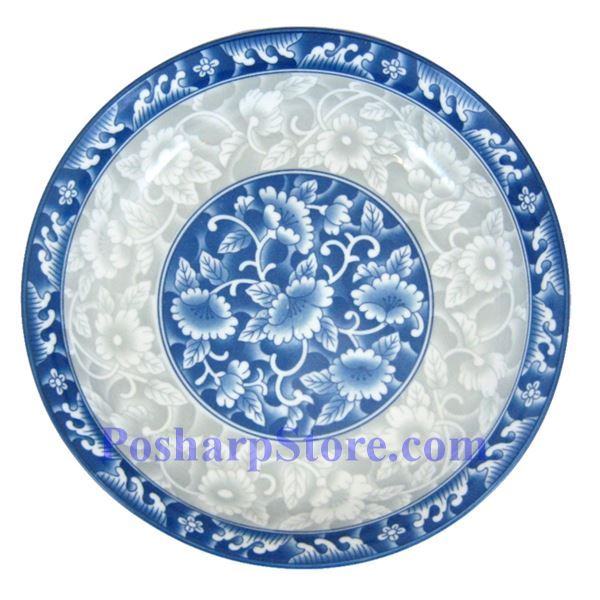 Picture for category Cheng's White Jade Porcelain 9-Inch Rake Wave Peony Rice/Pasta Plate