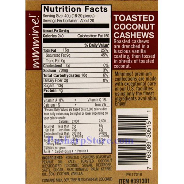 Picture for category Mmmine Toasted Coconut Cashews 1.75 Lbs