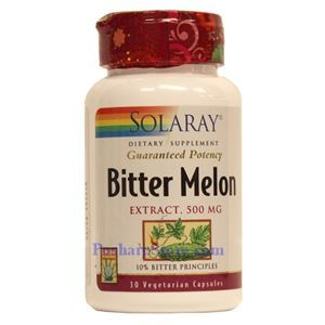 Picture of Solaray Bitter Melon Extract 500MG (10% Bitter Principles) 30 Vegetarian Capsules
