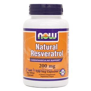 Picture of Now Foods Natural Resveratrol 200mg 120 Veg Capsules