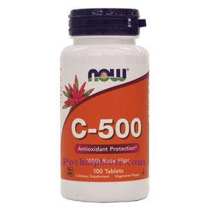 Picture of Now Foods Vitamin C-500 With Rose Hips 100 Tablets