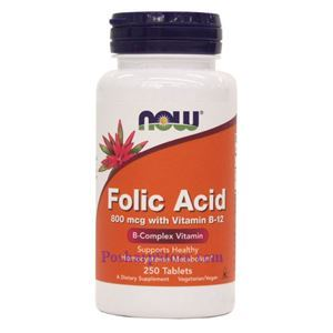 Picture of Now Foods Folic Acid 800mcg + B-12 25mcg Vegetarian 250 Tablets