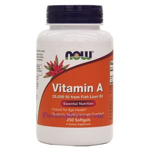 Picture of Now Foods Vitamin A  Fish Liver Oil 25000 IU 250 Softgels