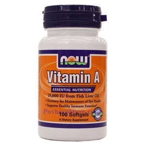 Picture of Now Foods Vitamin A Fish Liver Oil 25000 IU 100 Softgels