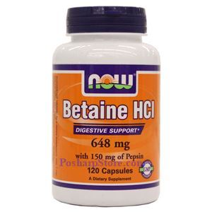 Picture of Now Foods Betaine HCl 648 mg 120 Capsules