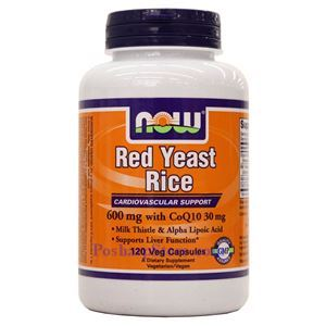 Picture of Now Foods Red Yeast Rice 600mg with CoQ10 30mg 120 Veg Capsules