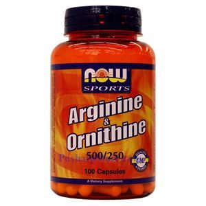 Picture of Now Foods L-Arginine & Ornithine 500/250mg 100 Capsules